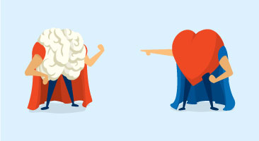cartoon heart pointing to brain wearing cape